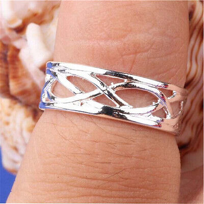 2016 Celebrity Fashion Simple Sliver Plated Adjustable Toe Ring Foot Jewelry JR