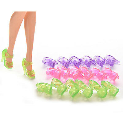10 Pairs Dolls Shoes High Heel Transparent Shoes For Barbie Dolls Outfit