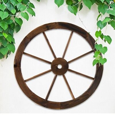 60cm Outdoor Wagon Wheel Garden Decor Wood Feature Wall Plant Treated Timber NEW