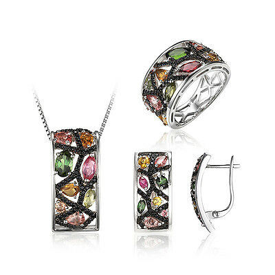 Genuine Tourmaline Black Spinel 925 Sterling Silver Jewelry Sets New For Ladies