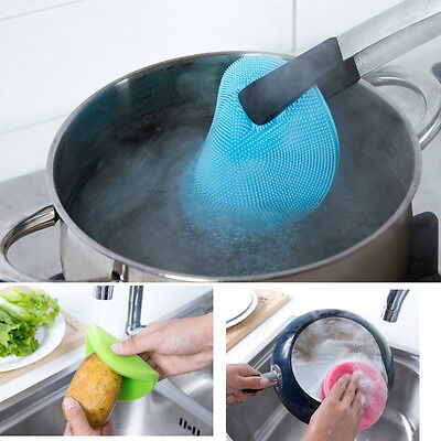 New Kitchen Dishwashing Tools Silicone Sponge Scrubber Brush Scrubber Cleaning