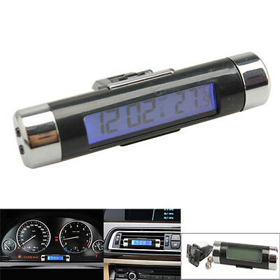 Blue Back Light Digital Car Clock Thermometer LCD Display Air-Condition Vent New