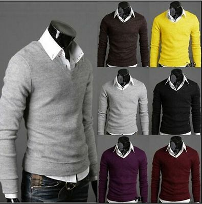 Men's Casual Slim Fit V-neck Knit Cardigan Pullover Jumpers Cotton Sweater Tops