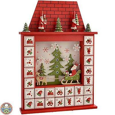 Werchristmas Tg: 28.5X6X40.5 Cm Red -Babbo Natale Scena House Nuovo