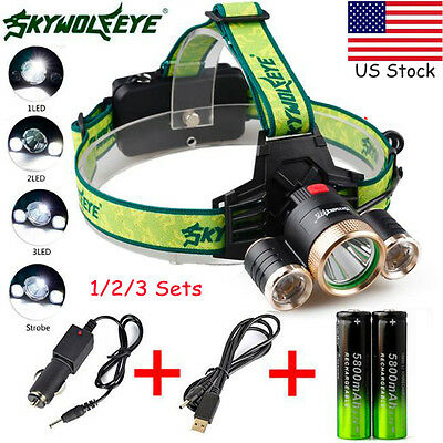 20000LM 4 Mode 3X XML T6 2R5 LED Headlamp Head Light Torch USB 18650 Charger lot