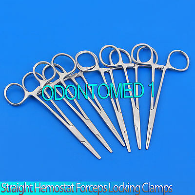 "New Set of 6 Pairs 5"" Straight Hemostat Forceps Locking Clamps - Stainless Steel"