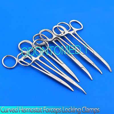 "New Set of 6 Pairs 5"" Curved Hemostat Forceps Locking Clamps - Stainless Steel"