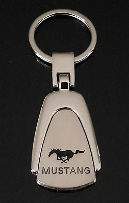 Mustang Chrome Keyring Chain Fob Car Club Logo Emblem Ford Accessories