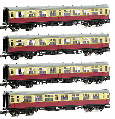 Graham Farish N Gauge Rake Of 4 Br Crimson/cream Bulleid Passenger Coaches *new*