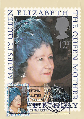 (36791) GB PHQ FDI Queen Mother 80th Postcard - Hitchin Salutes 4 August 1980
