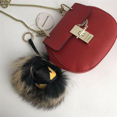 *New Year Promotion * Real Fur Monster Bag Bugs Charm Fur Pom Pom Ball Cute Face