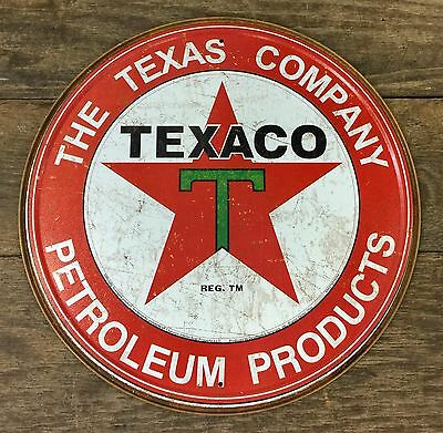 Texaco THE TEXAS COMPANY PETROLEUM PRODUCTS Vintage Circular Tin Metal Sign