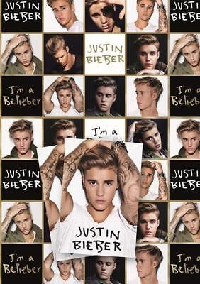 Justin Bieber 2 Sheets Of Gift Wrap And 2 Gift Tags New Gift