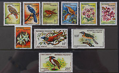 Malagasy Madagascar 1963 Birds and Orchids Set MNH SG57-66
