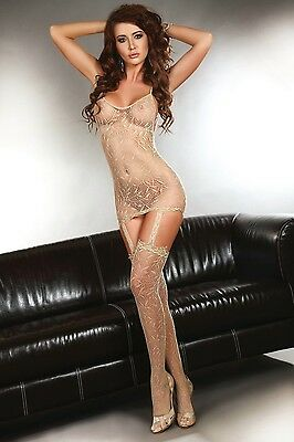 LivCo Catriona Beige Netz Body Stocking Catsuit Straps Top Strümpfe Muster HOT
