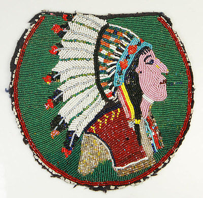 Vintage Plateau Beaded Panel with Chief Portrait circa 1900