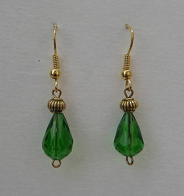 Small Faceted Grass Green Glass Drop Earrings With Gold Plated Detail ...hook