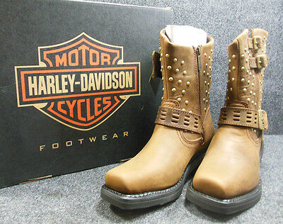 New Harley Shirley Ladies Studded Buckle Zip Square Boots Size 9.5 D83715 #C149