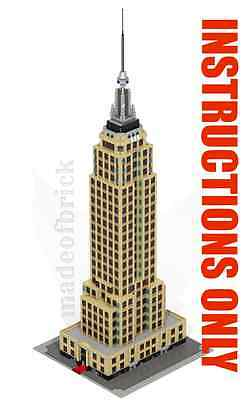 CUSTOM LEGO BUILDING Empire State:New York Skyscraper INSTRUCTIONS ONLY.NO PARTS