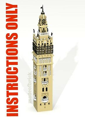 CUSTOM LEGO BUILDING. The Giralda of Seville,Spain GREAT SIZE. INSTRUCTIONS ONLY
