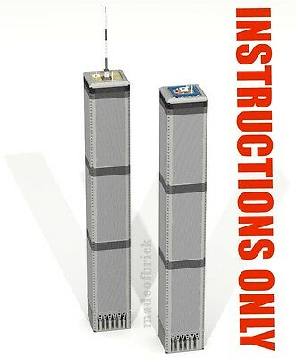 CUSTOM LEGO BUILDING Twin Towers: New York Skyscraper INSTRUCTIONS ONLY.NO PARTS