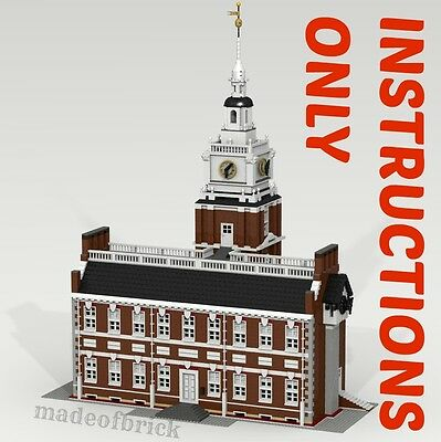CUSTOM LEGO BUILDING Independence Hall. Philadelphia.INSTRUCTIONS ONLY.NO PARTS