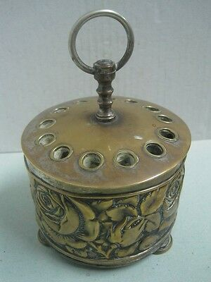 Antique Pen Pencil Desk Stand Holder In Metal With Flowers