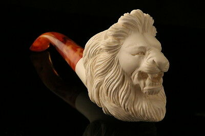 Lion Hand Carved Block Meerschaum Pipe in a fitted CASE 7720
