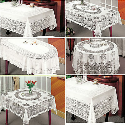 Vinyl White Oval Rectangle Square Round Embossed Lace Tablecloth Table Cover