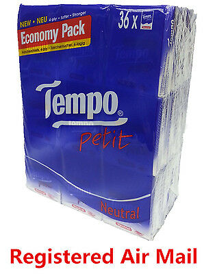 36 packs Neutral Tempo Petit Pocket Tissues Paper 4 ply cleaning handkerchiefs