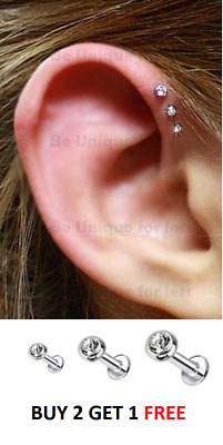 16g triple forward helix cartilage piercing stud tragus for Helix piercing jewelry canada