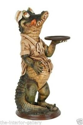 Butler Statue - Crocodile Butler Statue - Reptile Holding a Serving Tray - 3 ft.
