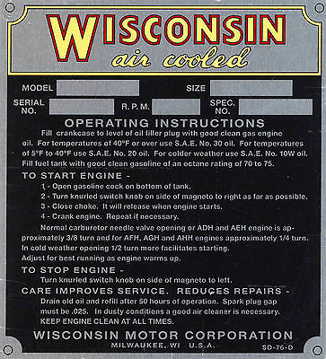 Wisconsin Engine Specification Plate