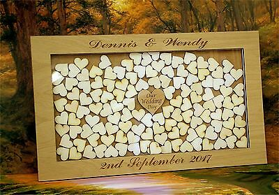 Large Personalised Wooden Wedding Drop Box Hearts Guest Book Alternative az6