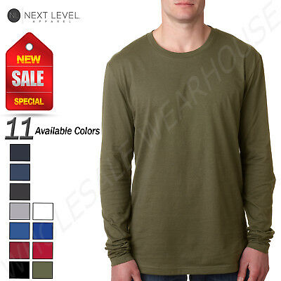 NEW Next Level Men's Premium Fitted Long Sleeve Crew Neck T-Shirt M-N3601