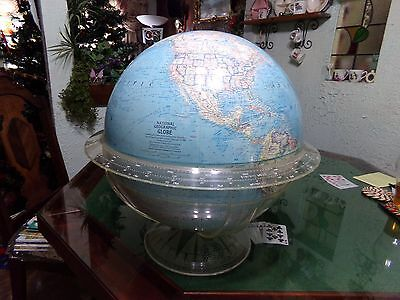 1966 Large Table Model 16 Inch National Geographic Globe Lucite Stand Desk