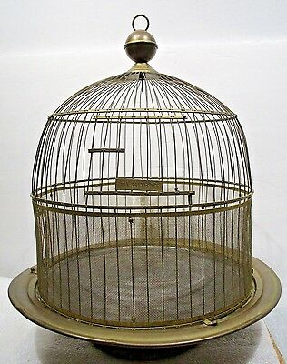 Vintage Hendryx Domed Bird Cage & 2 Glass Feeders