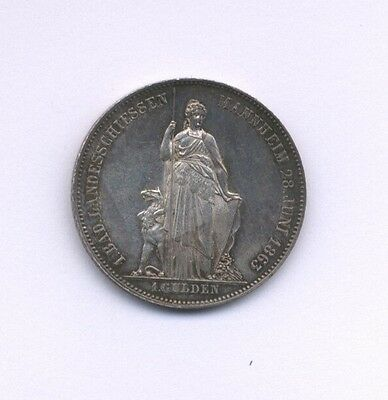 Germany  Baden  1863  1 Gulden  Silver Coin, Almost Uncirculated