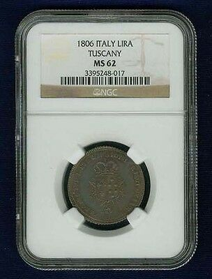 Italy / Italian States  Tuscany  1806  1 Lira Silver Coin Ngc Certified Ms62