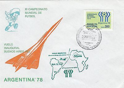 (45865) CLEARANCE Argentina Cover Concorde / Football World Cup 24 May 1978