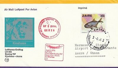 (44490) Zaire Lufthansa Cover Kinshasa - Accra - 3 April 1978
