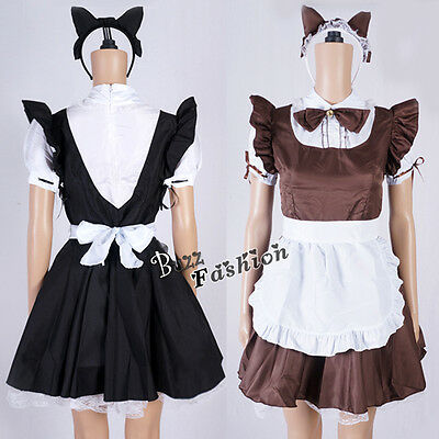Lolita Fancy Dress Maid Dress Black / Brown Women Cosplay Costume Outfit