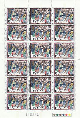 (41450) GB Christmas 1986 Booklet Pane section of 18 x 13p Glastonbury Thorn MNH
