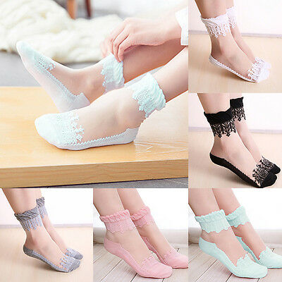1 Pairs Women Girls Lace Ruffle Ankle Socks Ultrathin Sheer Silk Elastic Socks
