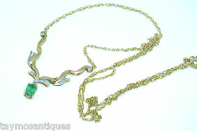 9k gold 9ct yellow solid gold emerald & diamond necklace Hallmarked &  Boxed