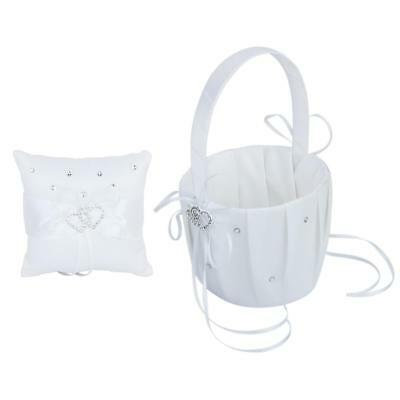 Wedding Page Boy Ring Pillow + Flower Girl Baskets With Double Heart Diamond