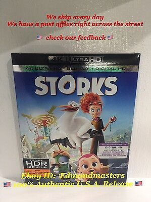 Storks (4k UHD Blu Ray Digital HD) 2016 Brand New Sealed Ships Fast!!
