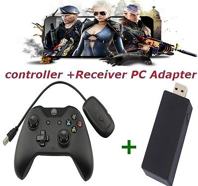 Black 2.4GHz Wireless Game Controller + Adapter Joypad for Xbox One Microsoft FP