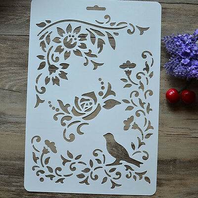 DIY Craft Bird Flower Layering Painting Stencils Scrapbooking Stamps Album New