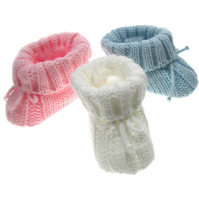 Baby Booties, Gorgeous Knitted Turnover Bootees With Bow 'newborn'
